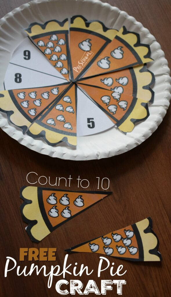 FREE Count to 10 Pumpkin Pie Craft - this is such a fun math activity for preschoolers to practice counting to 10 with a fun fall, thanksgiving themed activity #thanksgiving #counting #preschool