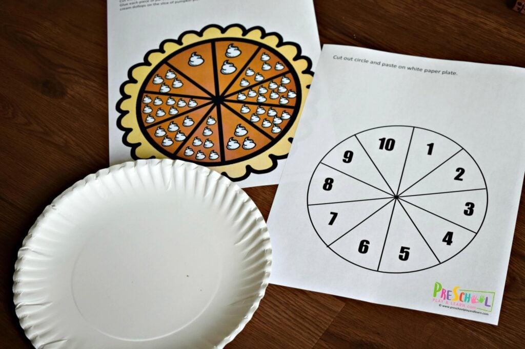 pumpkin pie printable activity for prek