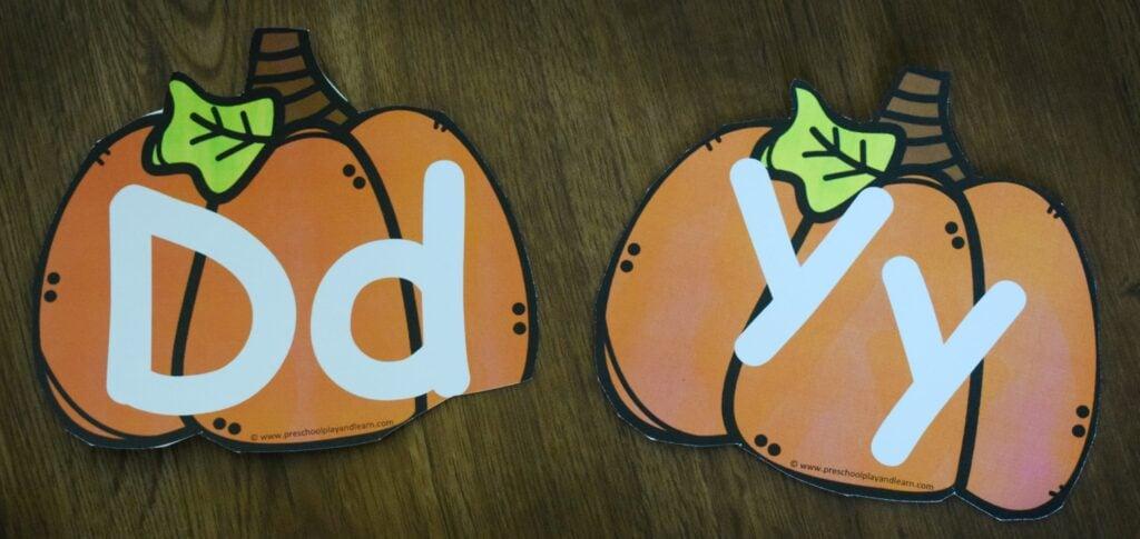 FREE pumpkin printables to help preschoolers and kindergartners practice ABCs