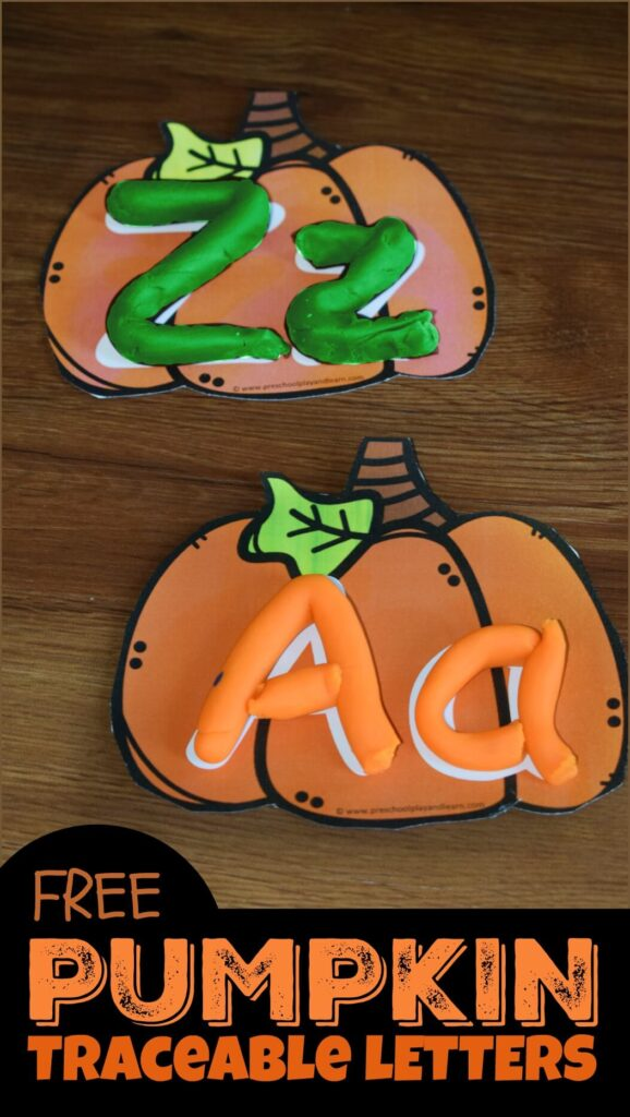 FREE Pumpkin Traceable Letters - free printable alphabet activity for kids to practice forming upper and lowercase letters #preschool #kindergarten #alphabet
