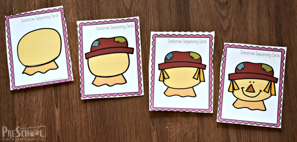 Put the cards in order to build a scarecrow in this Sequencing Activities for fall