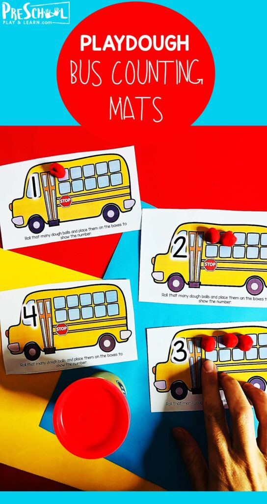 FREE School Bus Playdough Mat - Looking for a fun way to get kids to count and show their numbers? These fun school themed Bus Activities for Preschoolers are perfect for that! Using the school bus playdough mats, children will work on identify the number on each card and then form that many dough balls to represent 'kids on a bus' and show their number on the mat. This is a fun activity for toddler, preschool, pre k, and kindergarten age students.