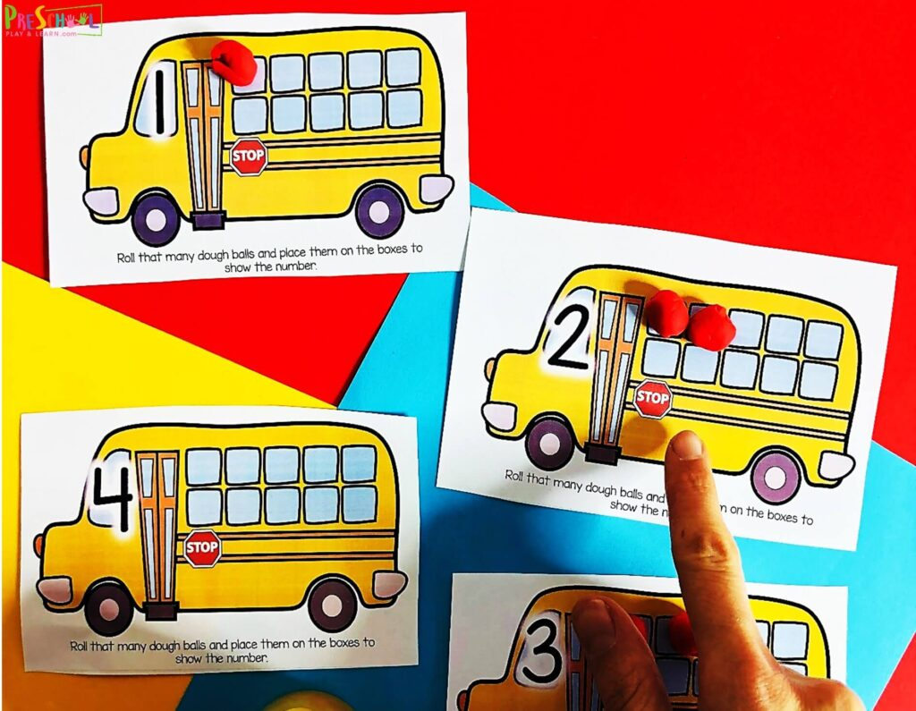 This free school bus printable is a great way for preschoolers and kindergartners to count to 10 with first day of school preschool math