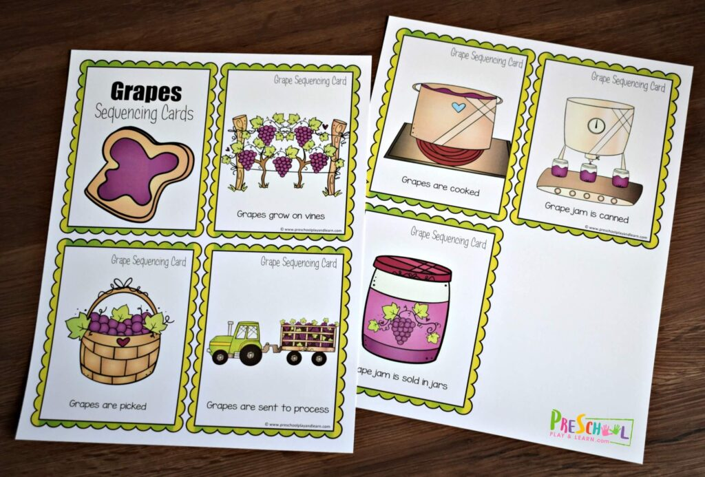 This fun sequencing activity is a fun way for kids to learn how grapes become grape jelly