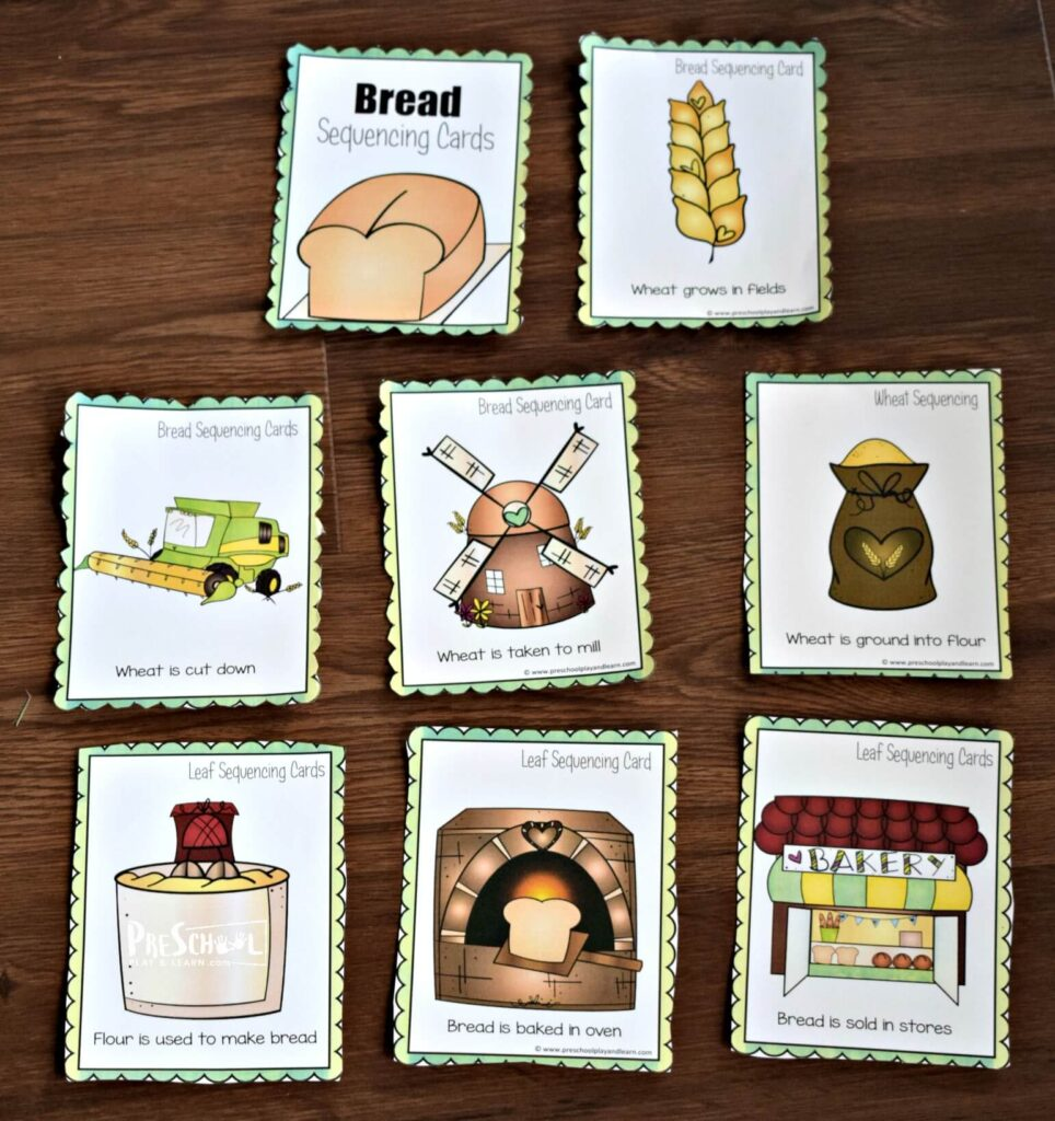 Kids can put these sequencing cards in order to figure out the order needed to go from wheat to bread
