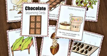 Put the 8 sequencing pictures in order to show the order from field to table to show how chocolate is made
