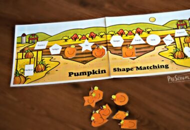 This pumpkin themed math activity is a fun way for kindergartners to learn about shapes for kids