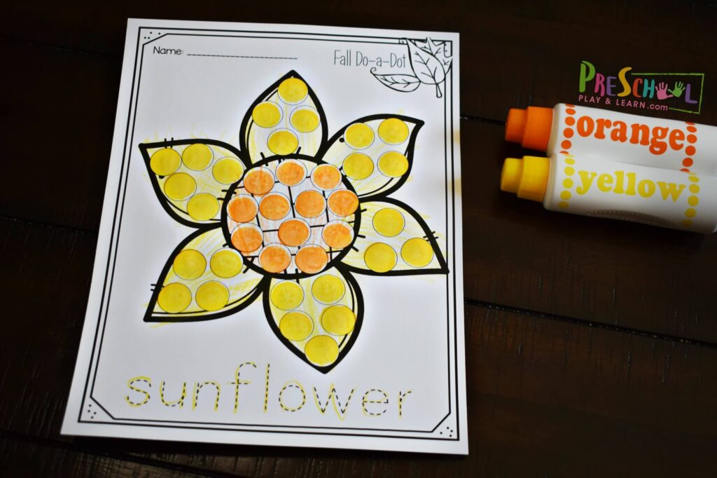 Sunflower Fall BIngo Dabuter Printables