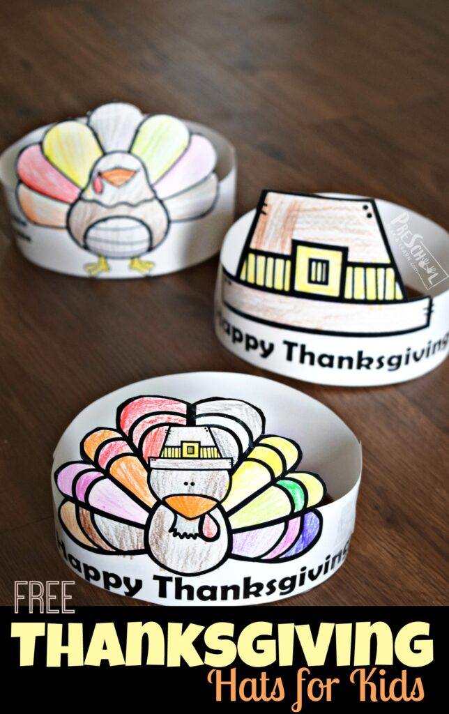 FREE FREE Thanksgiving Hats for Kids - super cute thanksgiving craft for toddler, preschool, prek, and kinderagrten age kids. Lots of choices like turkey, pilgrim, and more #thanksgiving #preschool #kindergarten