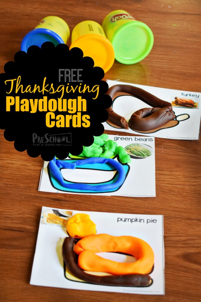 FREE Thanksgiving Playdough Cards - this is such a fun, hands-on activity or toddler, preschoolers, and kindergartners #thanksgiving #playdough #preschool