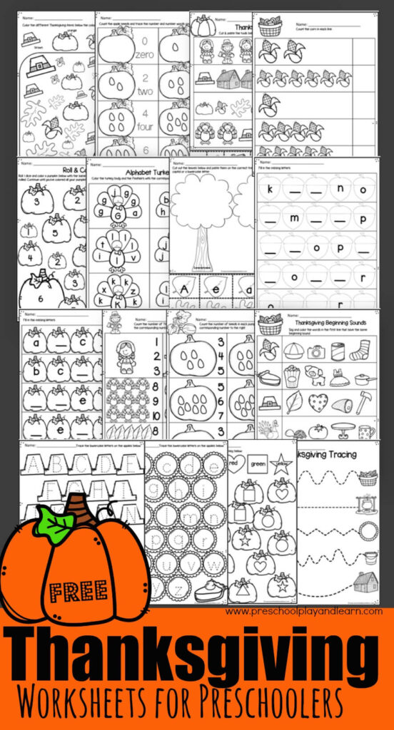 FREE Thanksgiving Worksheets - practice math and literacy skills with these super cute thanksgiving themed printables for preschool, prek, and kindergarten age kids #thanksgiving #preschool worksheets