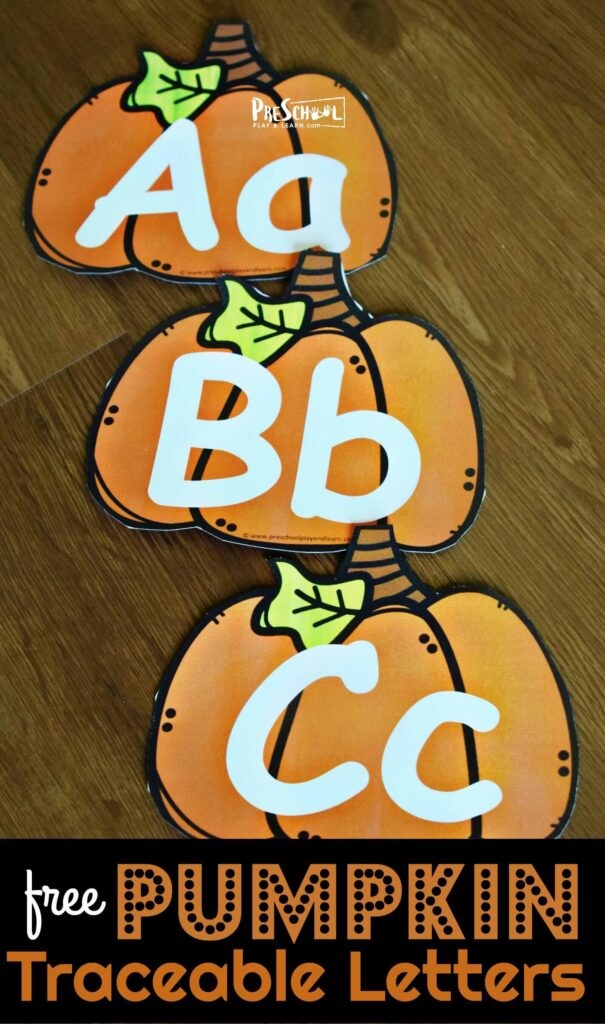 FREE Pumpkin Traceable Letters - fun way to help preschool, prek, and kindergarten age kids practice tracing upper and lowercase letters #pumpkin #alphabet #preschool