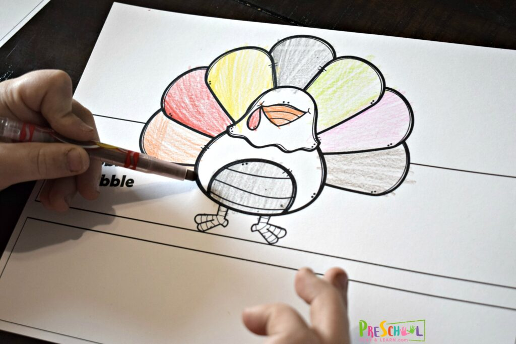 adorable turkey craft for kids to make with a free printable