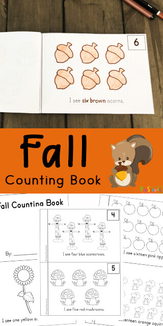 Kids will have fun practicing counting to 20 with this super cute, free printable, Fall Counting Book. Simply print the pdf file to color and count to 20 with toddler, preschool, pre k, and kindergarten age children this fall. As your student learns color words, they will also be counting fall clipart such as acorns, scarecrows, apples, mushrooms, sunflowers, pumpkins, hedgehogs, leaves, and more with this free counting printable!