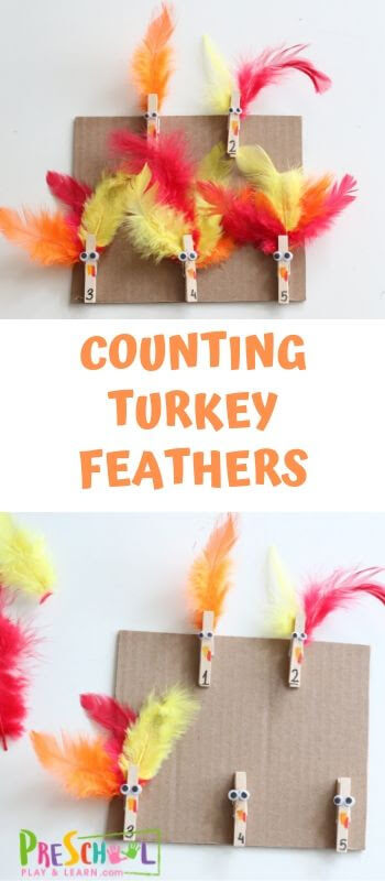 Counting Turkey Feathers - fun, hands on turkey counting math activity for toddler, preschool, prek, and kindergarten age kids perfect for Thanksgiving in November #thanksgiving #preschool #math