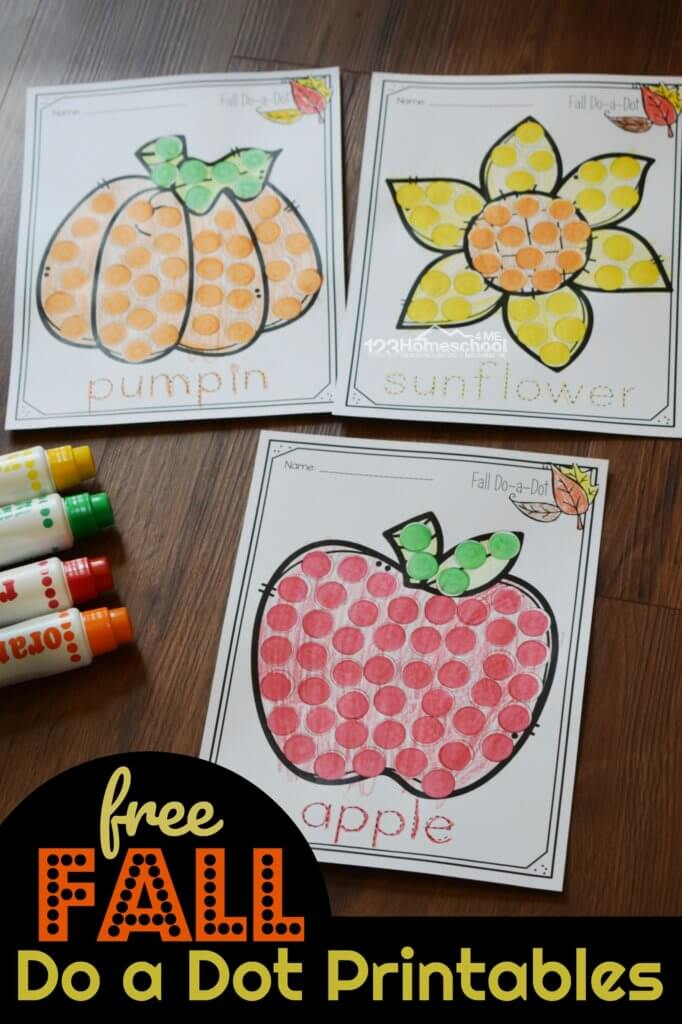 Kids will have fun using bingo daubers to strengthen fine motor skills as they make fall themed pictures with these free do a dot printables. You can also use these as sticker worksheets and make a pumpkin, sunflower, apple, acorn, and leaf picture with these do a dot printables fall.  These is a fun activity for toddler, preschool, pre k and kindergarten age children.