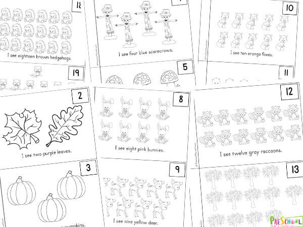 fall preschool math worksheets