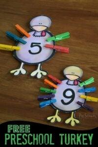 super cute preschool turkey math activity for preschoolers