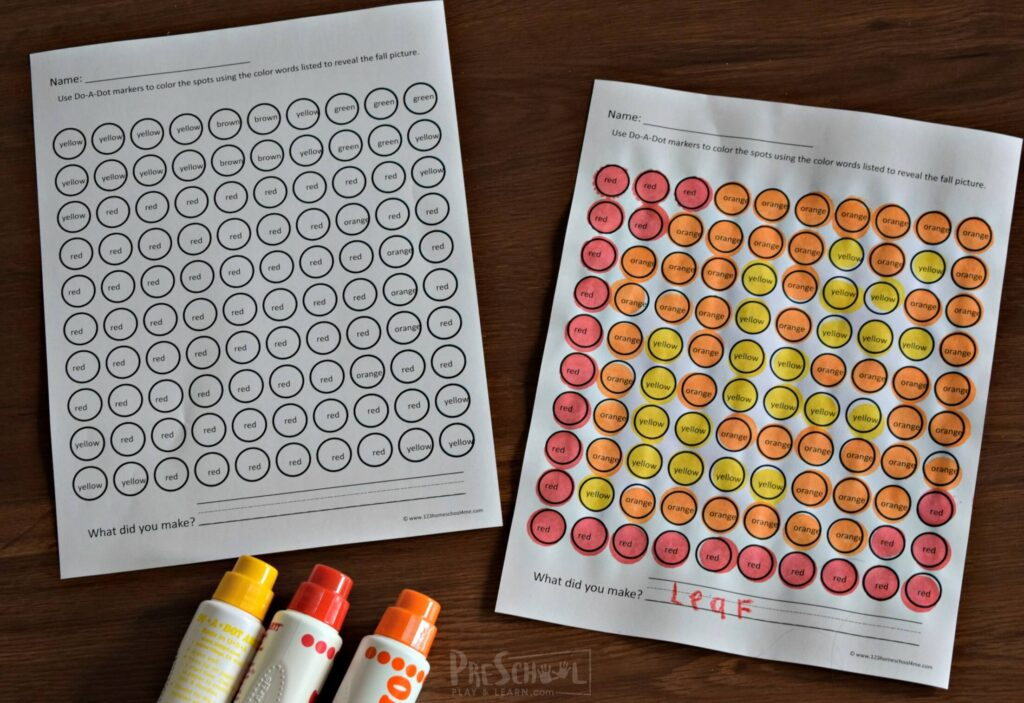 fall printables revealing a leaf with bingo dabuers