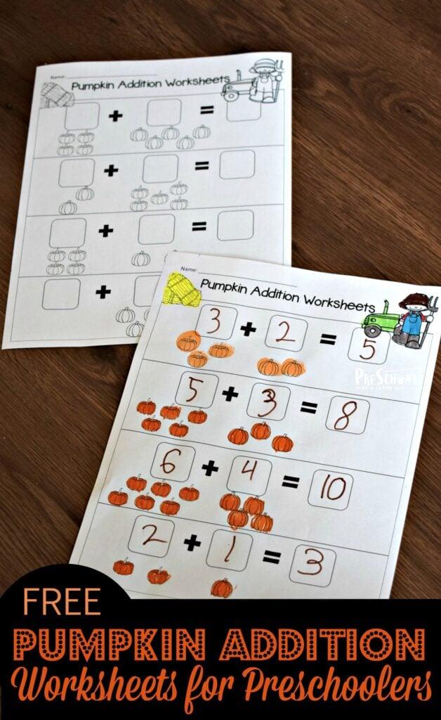 FREE Pumpkin Addition Worksheets for Preschoolers - super cute free printable, pumpkin themed math worksheets for prek and kindergarten age kids to practice addition within 10 #addition #pumpkin #prek