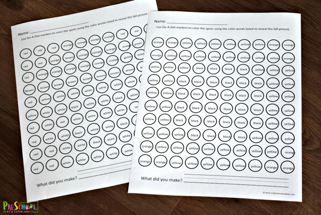 free printable do a dot markers for preschoolers and kindergartners