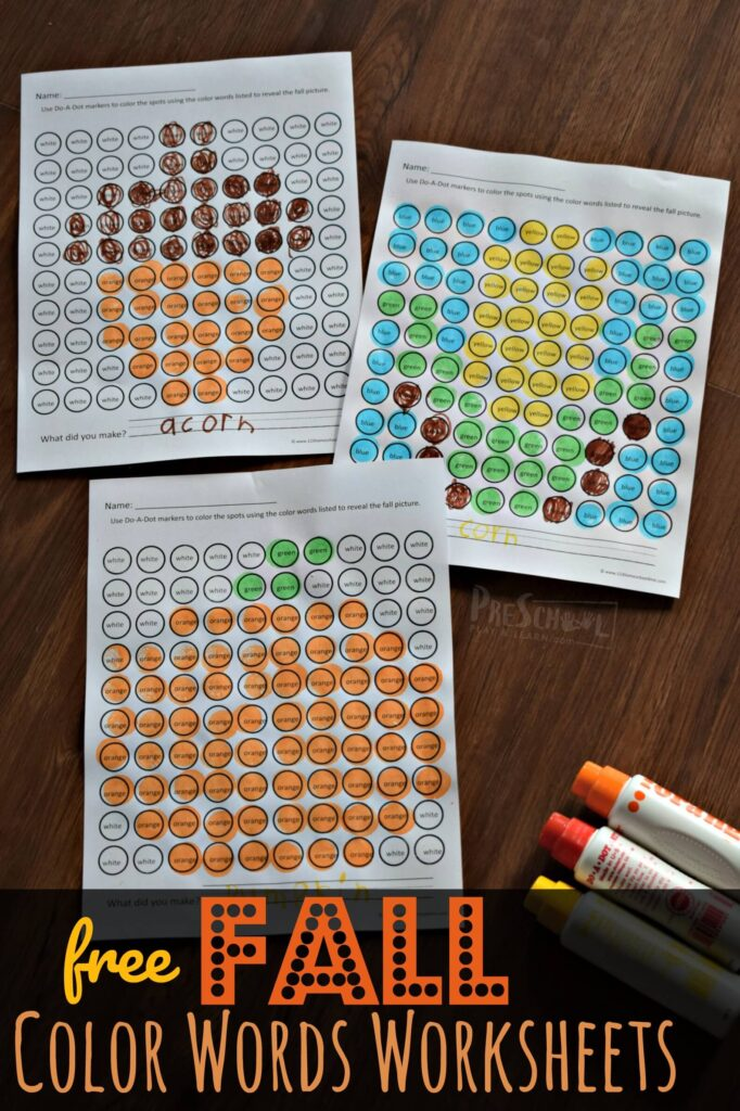 FREE Fall Color Words Worksheets - help preschool, prek, and kindergarten age kids learn colors with these free printables with do a dot markers. Reveal the hidden fall images #fall #colorwords prek