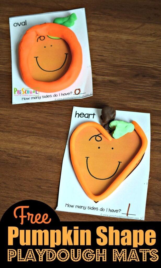 FREE Pumpkin Shapes Playdough Mats - fun, hands on math activity for preschoolers to work on shape recognition with a fall kids activity #pumpkin #shapes #preschool