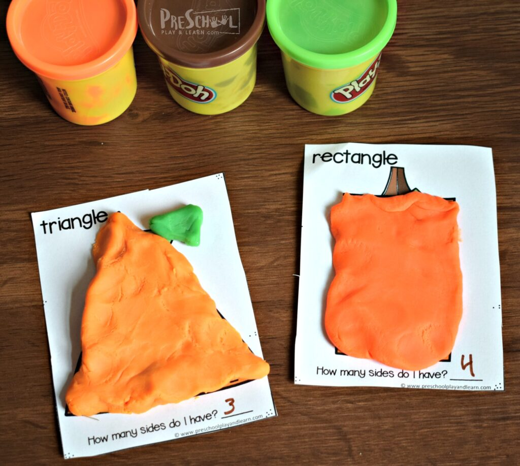 pumpkin shapes are a great way for teaching shapes to preschoolers and toddlers