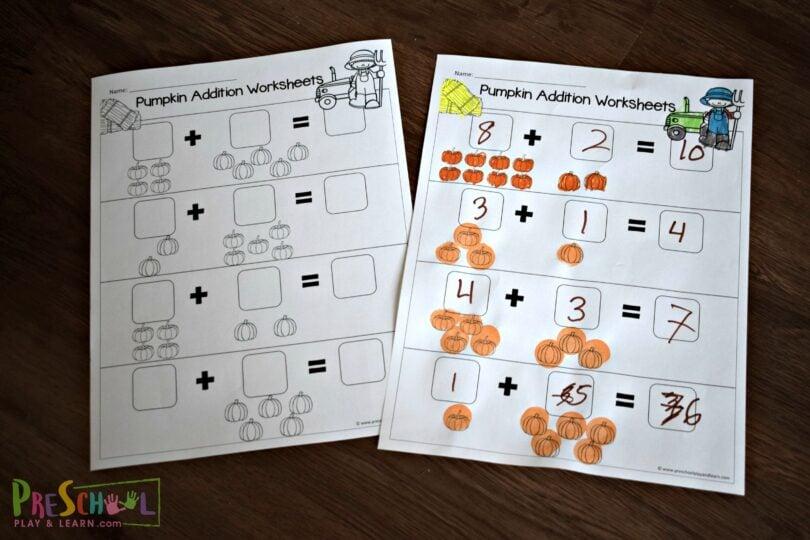 LOW PREP pumpkin worksheets for preschoolers and kindergartners