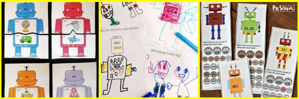 free Robot Printables for prek, kindergarten, and first graders
