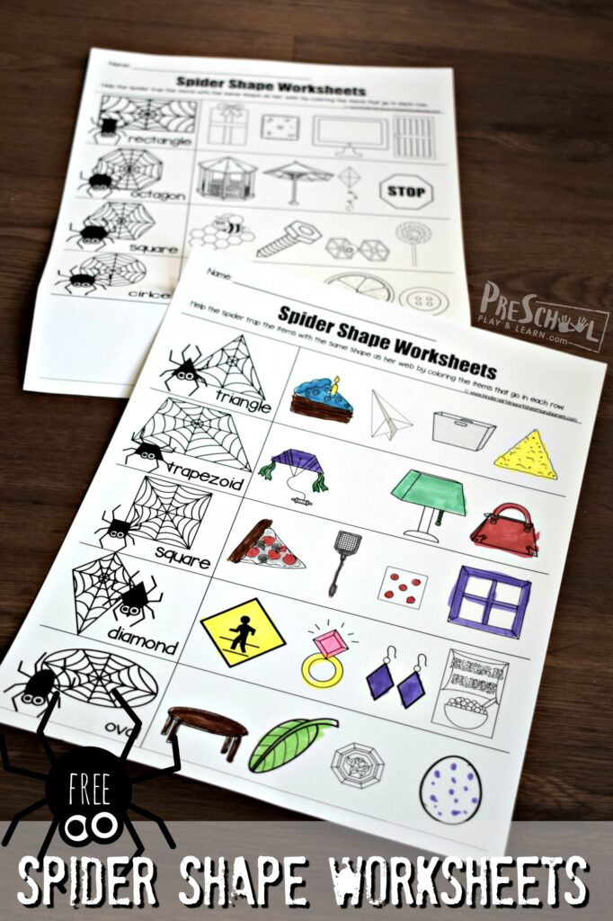FREE Spider Shape Worksheets - NO PREP free printables to help prek and kindergarten age kids practice identifying shapes and working on shape recognition; perfect for octoboer and Halloween #shapes #spiders #prek