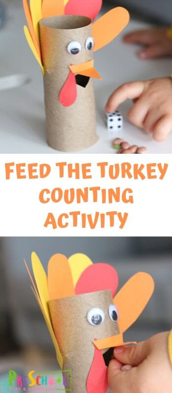 Thanksgiving Counting Activity - super cute, hands on learning activity for prek and kindergarten age kids in novem ber #thanksgivingmath #prek #kindergarten