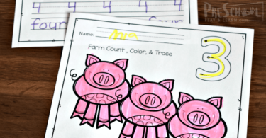 FREE Counting Farm Animals Worksheets - kids will have fun practicing counting animals on the farm and tracing numbers 1-10 with these adorable count to 10 printables for toddler, preschool, prek, and kindergarten age kids in the fall, spring, or farm theme. #farm #preschool #counting