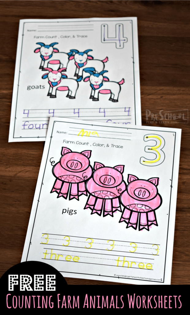 ids will have fun practicing counting 1-10 and number tracing with these free printable,counting farm animals worksheet. These are such a fun, no prep, math activity for preschoolers, toddlers, and kindergartners. Whether you are a parent, teacher, or homeschooler - kids will love counting, coloring, and learning with Old MacDonald on the Farm.