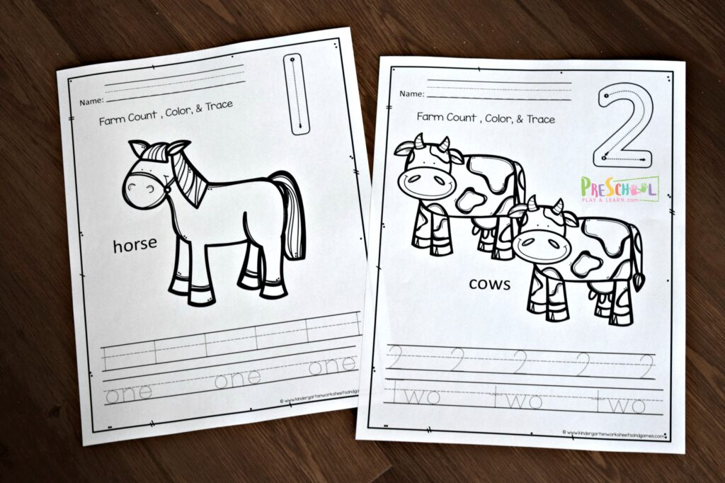 FREE Counting Farm Animals Worksheet