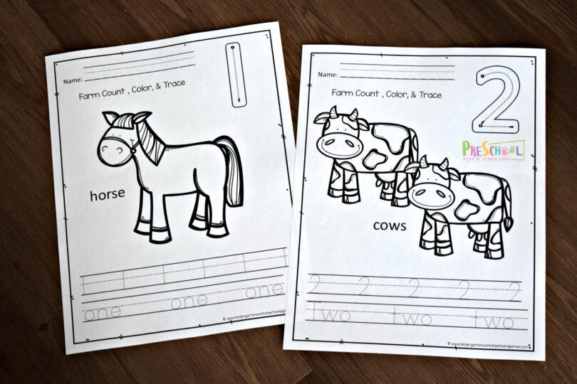 These farm animal printables make it fun to practice counting with toddlers, preschoolers, and kindergartners