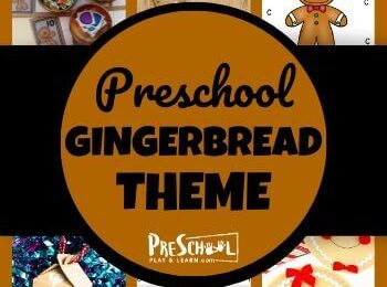 Gingerbread theme for Preschool - so many fun clever ideas to teach prek kids math, alphabet, and more plus super cute gingerbread crafts and acivities for preschoolers and kindergartners in December #gingerbreadtheme #preschool #kindergarten