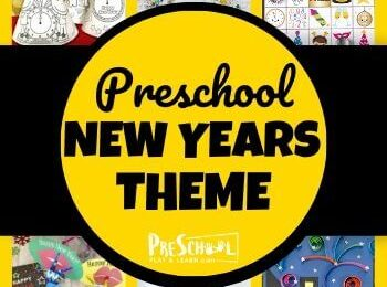 Preschool New Years Theme - tons of fun crafts, activities, math activities literacy ideas, and new years eve printables for prek kids with afun new years theme #preschoolthemes #prekthemes #newyearseveforkids