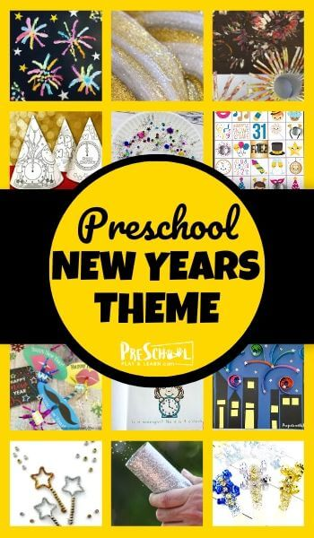 Celebrate Happy New Years for Kids  with these fun New Years Preschool Theme! Kids will be excited to celebrate the new year with these educational activities, free printables, and cute crafts in this New Years Preschool Theme. Use this with toddler, preschool, pre-k, and kindergarten age children.
