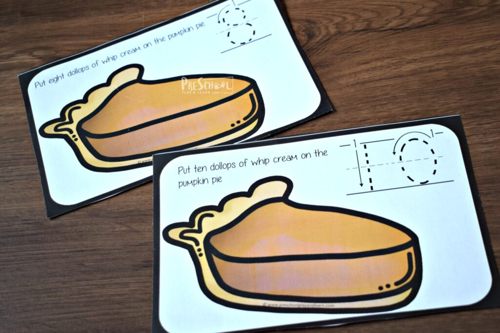 kids will have fun practicing counting to 10 with this count and trace pumpkin pie activity for thanksgiving