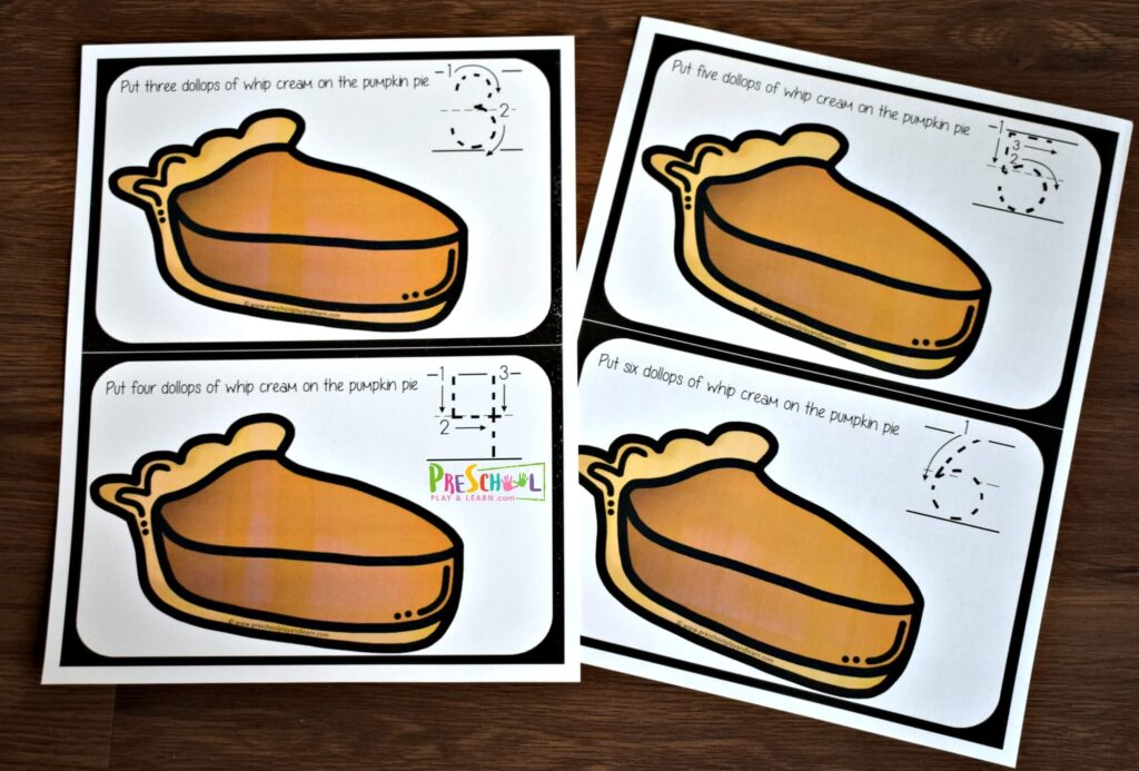 super cute pumpkin pie count to 10 activity for preschool, prek, and kindergarten age kids