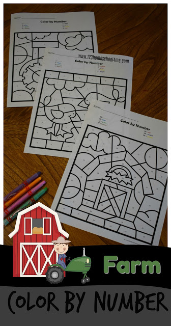 FREE Farm Color by Number Worksheets