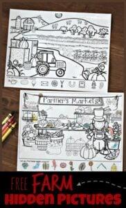 farm hidden picture worksheets