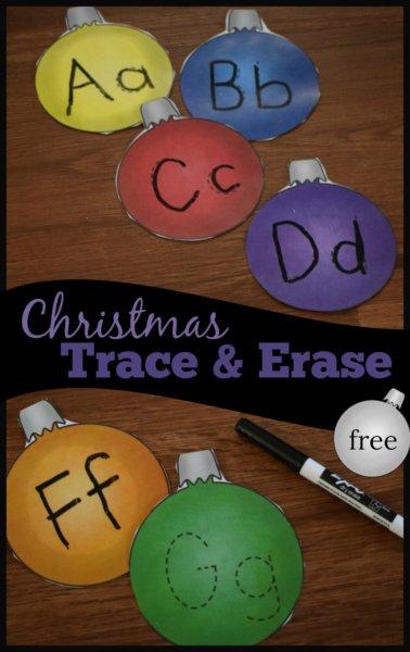 Christmas Ornament alphabet tracing