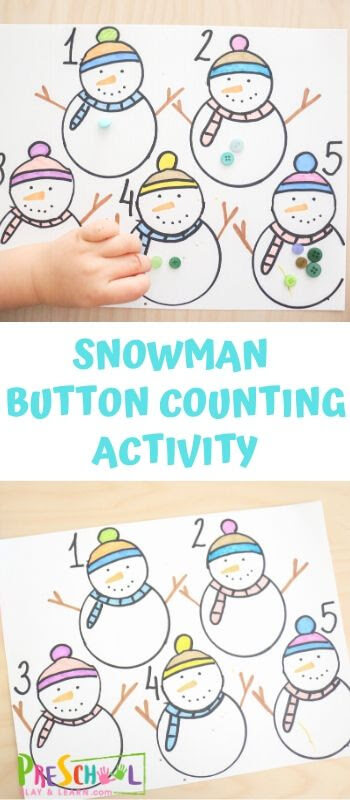 This Snowman Button Counting activity is a fun way for toddler, preschool, and pre-k children to practice counting with a fun winter math activity. Download the pdf file with the snowman printable, grab some buttons, and you are ready for a hands-on math students love doing! This snowman printables combines counting, visually seeing number quantities and fine motor skills!