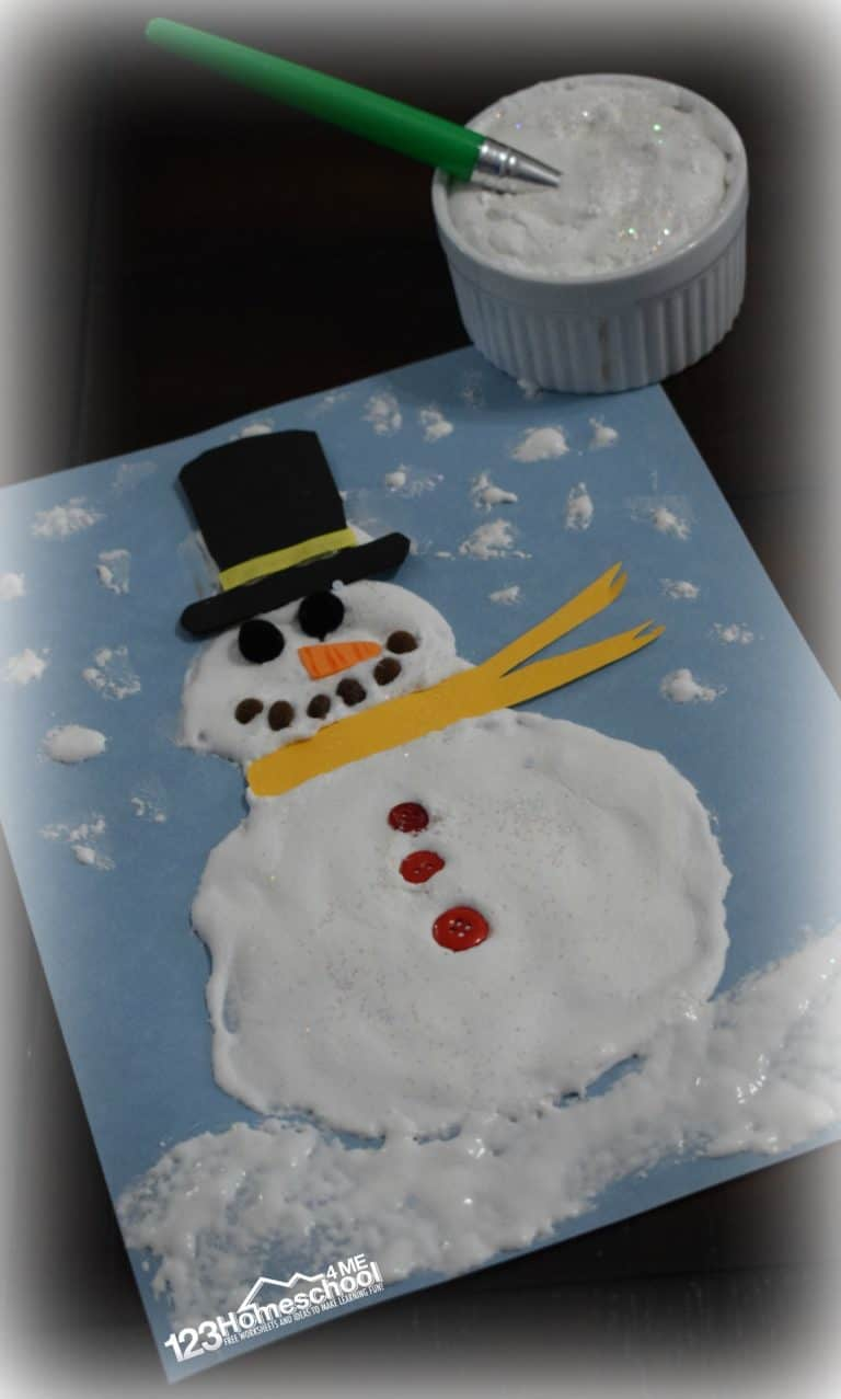 Easy to make snowman puffy paint recipe
