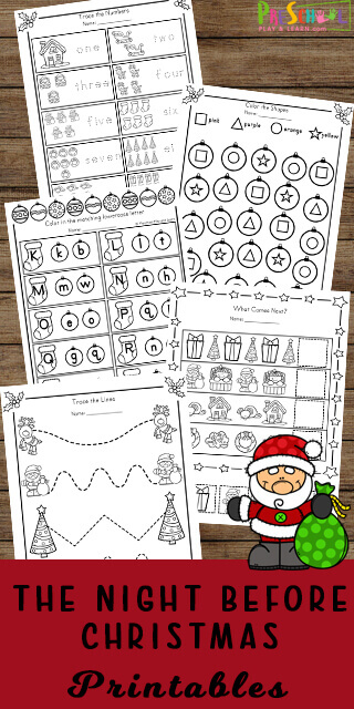 Kids will have fun practicing math and litearcy skills in December using these adorable, FREE printable The Night Before Christmas Printables.