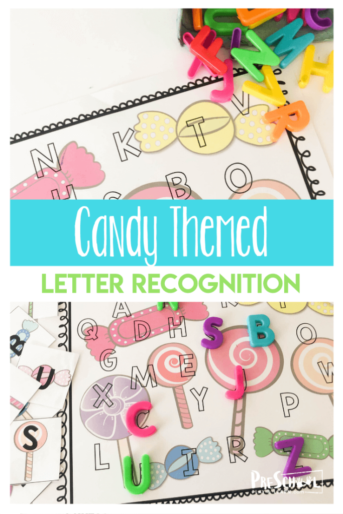 FREE Candy Letter Recognition - this super cute activity helps toddler, preschool, and kindergarten age kids to practice identifying uppercase letters while having fun with a candy theme perfect for Valentines Day #valentinesday #preschool #alphabet