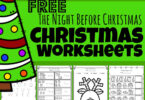 Kids will have fun practicing math and literacy skills in December using these super cute, free Christmas Worksheets with a fun twas the night before Christmas poem printable theme. Preschool, pre-k, and kindergarten age kids will enjoy all the fun free worksheets included as they download the pdf file with the night before Christmas activities. This is a HUGE Christmas printable pack!