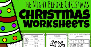Kids will have fun practicing math and literacy skills in December using these super cute, freeChristmas Worksheets with a funtwas the night before Christmas poem printable theme. Preschool, pre-k, and kindergarten age kids will enjoy all the fun free worksheets included as they download the pdf file with the night before Christmas activities. This is a HUGE Christmas printable pack!